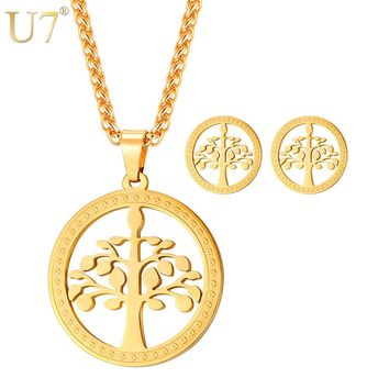 U7 Stainless Steel Round Tree Of Life Pendant Necklace & Earrings Botanical Woodland Plant Women Jewelry Set Gift S1013
