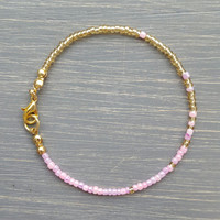 Simple + Stunning Seed Bead Friendship Bracelet // Gold + Pink Ombre // Stackable Bracelet // Customizable