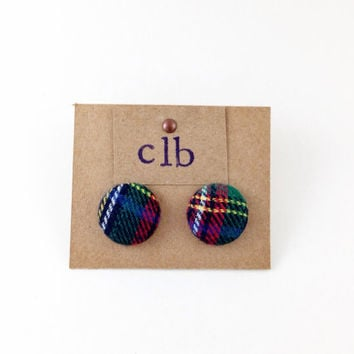 Plaid Fabric Button Earrings, Flannel Button Earrings, Navy Circle Studs