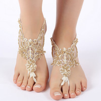Free Ship ivory gold beaded barefoot sandals, laceBarefoot Sandals, french lace, Beach wedding barefoot sandals