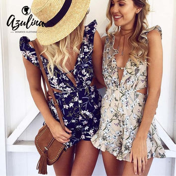 AZULINA Floral Print Women Romper Jumpsuit Deep V Neck Sleeveless Ruffle Sexy Playsuit 2017 Summer Beachwear Skinny Overalls