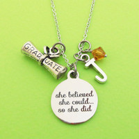 Personalized, Letter, Initial, Birthstone, She believed, She could..., So she did, GRADUATE, Silver, Necklace, Friends, Gift, Jewelry
