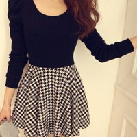 Black Plaid Scoop Neck A-Line Dress