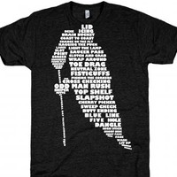 Hockey Player Typography, Dark Apparel-Athletic Black T-Shirt