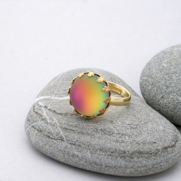 Frosted Rainbow Ring - Vintage Vitrail Ring - Matte Glass Adjustable Ring