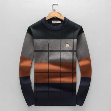 Burberry autumn and winter long-sleeved round neck striped plaid tide brand men's knitted sweater