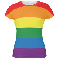 LGBT Rainbow Gay Pride Flag All Over Juniors T-Shirt