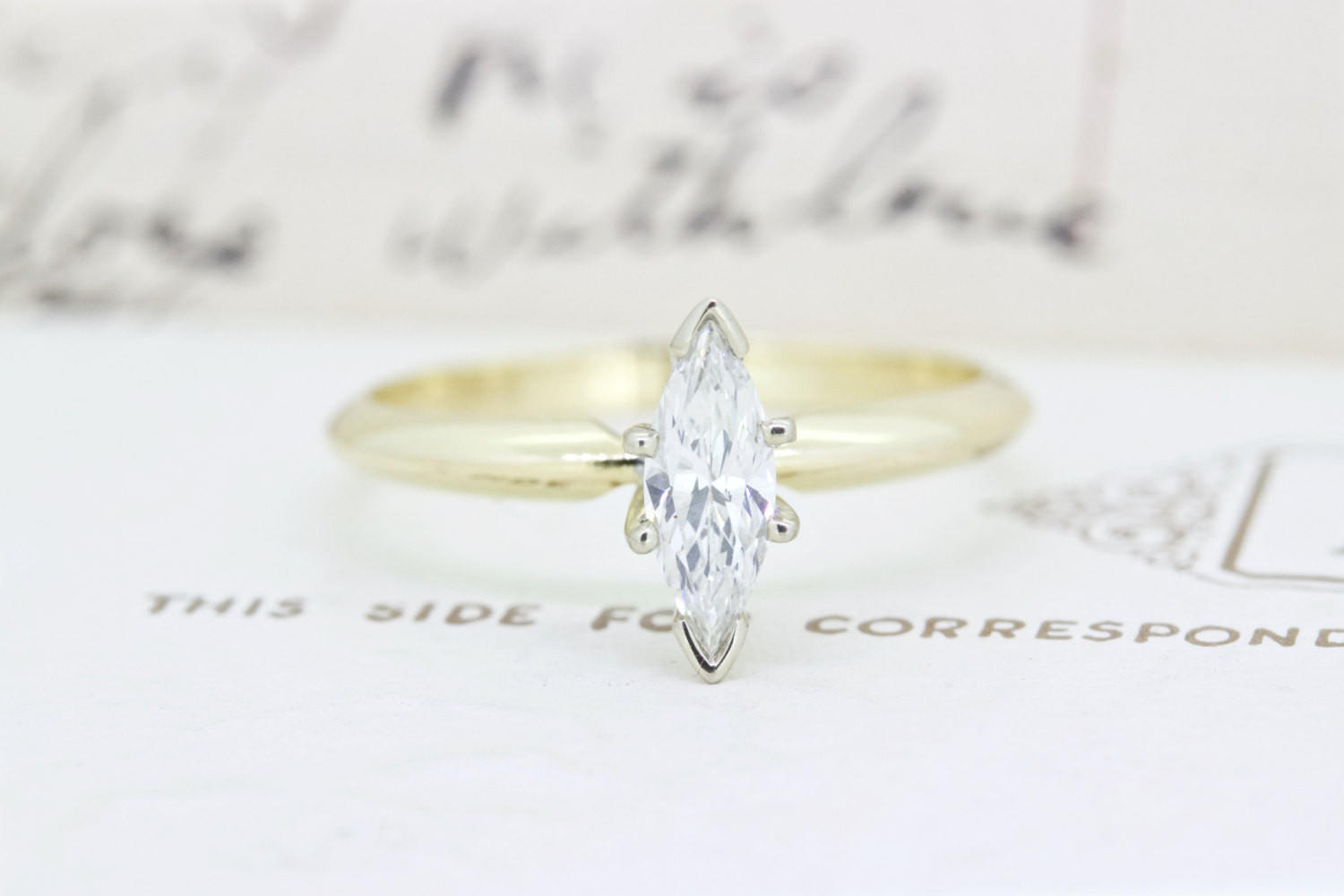 unique vintage engagement ring marquise from gesshop