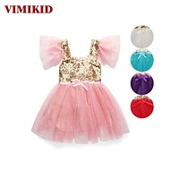 New Baby Kids Girl Golden Sequin Short Sleeve Tulle Party Dress Princess Dress