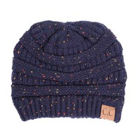 C.C. Exclusives Cable Knit Beanie in Speckled Navy HAT-33-NAVY