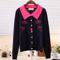 Spring Cute Cat Face Long Sleeves Blouse Multiple Colors