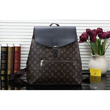 LV 2019 new men's old flower color matching travel bag backpack coffee print