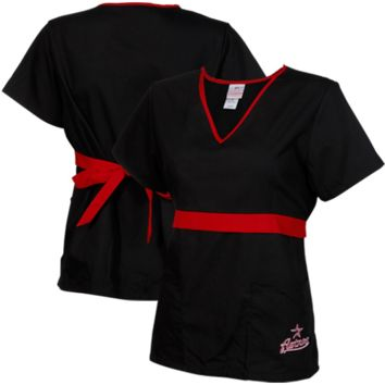 Houston Astros Womens MLB Solid Wrap Scrub Top with Pockets - Black/Brick Red