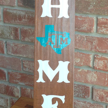 HOME Texas Aggies Ceramic Tile - Texas A&M Aggies Wooden Sign - Wooden Look Ceramic Tile Texas Home Sign - Aggie Home Ceramic Wood Tile Sign