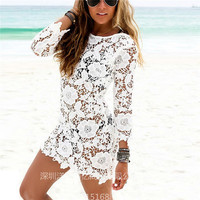 New Fashion Hollow Bandage Lace Floral Sexy Bikini Swim Suit Beach Bathing Suits