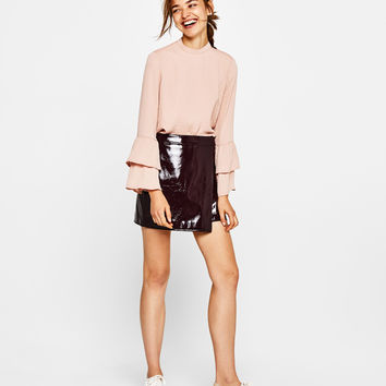 Blouse with ruffled sleeves - New - Bershka United Kingdom