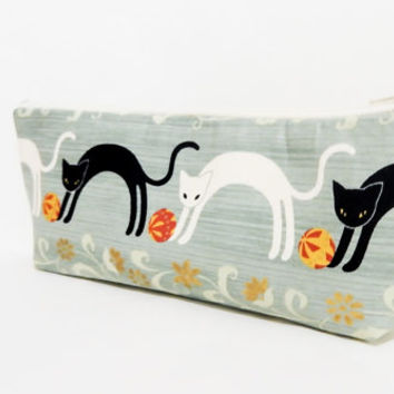Cat Pencil Case, Pencil Pouch, Zipper Pouch, Fabric Pouch, Pouch, Cute Pouch, Gift, Mothers Day Gift, Cute Gift, Cats and Toys in Sage Green