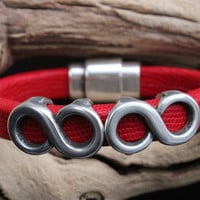Licorice Leather Bracelet Antique Silver Infinite Sliders Magnetic Bullet Clasp
