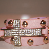 Pink cross wrap bracelet