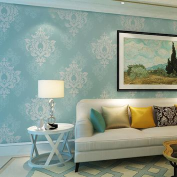 European Style 3D Embossed Damask Wallpaper Living Room Bedroom Background Wall Paper For Wall 3 D Non-Woven Home Decor 5 Colors