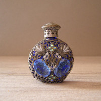 Decorative Perfume Bottle Vintage blue glass and by MeshuMaSH