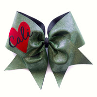 Cali Heart Cheer Bow (Green)