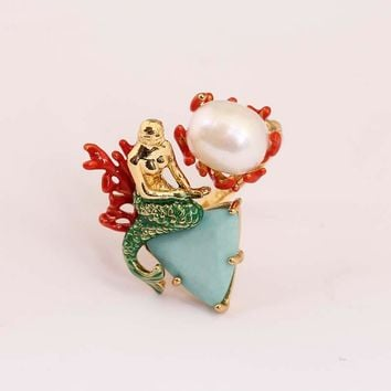 France  2016 New Arrivals Enamel Glaze Ocean Goddess Mermaid Pearl Gold Really Plated Ring Jewelry For Give Women  Gift