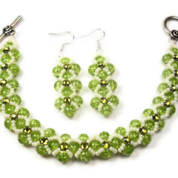 Green Montee Bracelet and Earrings Set