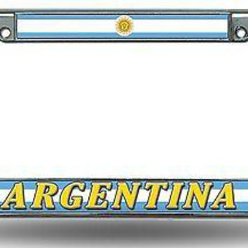 Argentina Chrome Metal License Plate Tag Frame Cover World Cup Soccer Football