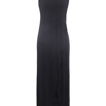 Black Wrap Front Racer Back Asymmetric Dress