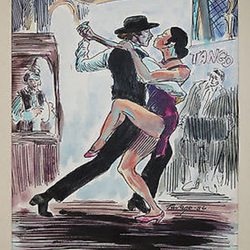 Tango Watercolor Ink Painting by Carlos Tavano Spanish Dancers Argentina