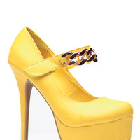 Faux Leather Yellow Almond Toe Gold Chain Pumps