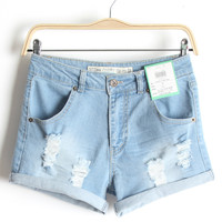 Summer Casual Slim Rinsed Denim Denim Pants Shorts [6034323329]
