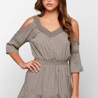 Glamorous Once Upon a Daydream Taupe Lace Dress