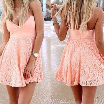Strapless Lace Beach Dress