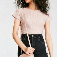 Vegan Patent Leather Studded Crossbody Bag   Urban Outfitters