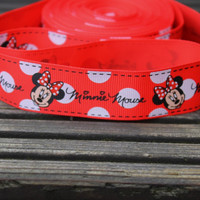 "Minnie Mouse Red Grosgrain ribbon 7/8"" 22mm for scrapbooking,card making,hair bow crafts"