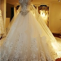 Attractive Sweetheart Beading Lace-up Watteau Train A-Line Wedding Dress