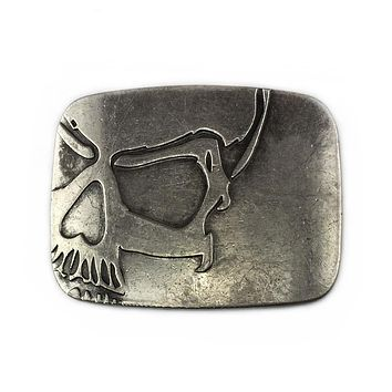 Skull ☠ belt buckle with antique silver finish