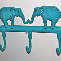 Turquoise Elephant Cast Iron Wall Hook by AquaXpressions