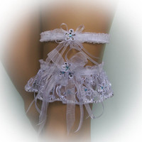 Lace Wedding Garter Set with 500 Swarovski Crystals, Bridal Garter Set, Luxury Garter, Stretch Garter, Crystal Garter, Flower Garter