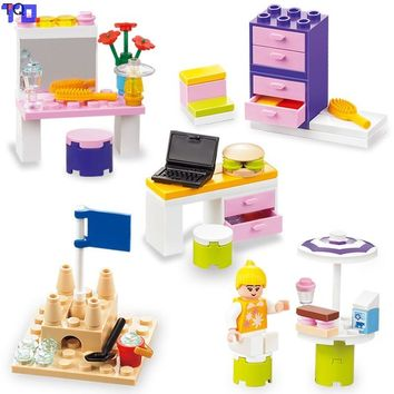 City Friends Dresser/Computer Table/Lockers Box/Beach Castle/Holiday Girl Princess Compatible with Legoe Kids Block Gift Toys