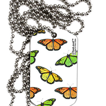 Monarch Butterflies AOP Adult Dog Tag Chain Necklace