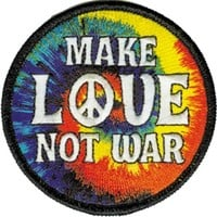 Make Love Not War Iron-On Patch Round Peace Sign Logo