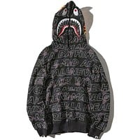 Bape Aape Shark Hoodies Zippers Hats Couple Casual Jacket Black