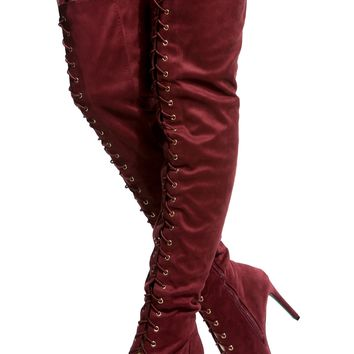 Burgundy Faux Suede Lace Up Thigh High Heels @ Cicihot Heel Shoes online store sales:Stiletto Heel Shoes,High Heel Pumps,Womens High Heel Shoes,Prom Shoes,Summer Shoes,Spring Shoes,Spool Heel,Womens Dress Shoes