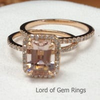 Emerald Cut Morganite Engagement Ring Sets Pave Diamond Wedding 14K Rose Gold 6x8mm
