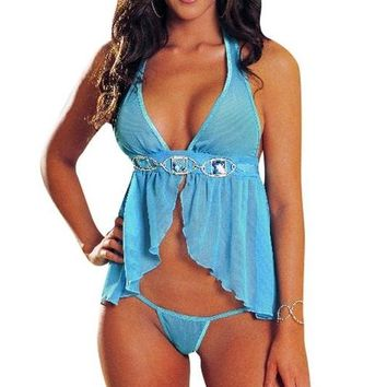 Babydoll Halter and Thong Turquoise 3X
