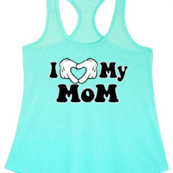 Women's I Love My Mom Graphic Print Polyester Tank Tops for Regular and PLUS - Small ~ 3XL