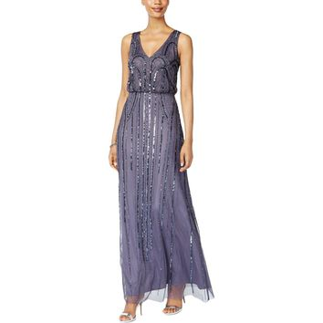 Adrianna Papell Womens Beaded Sleeveless Evening Dress